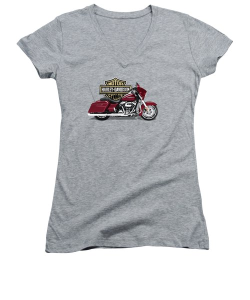 Women's V-Neck T-Shirt (Junior Cut) featuring the digital art 2017 Harley-davidson Street Glide Special Motorcycle With 3d Badge Over Vintage Background  by Serge Averbukh