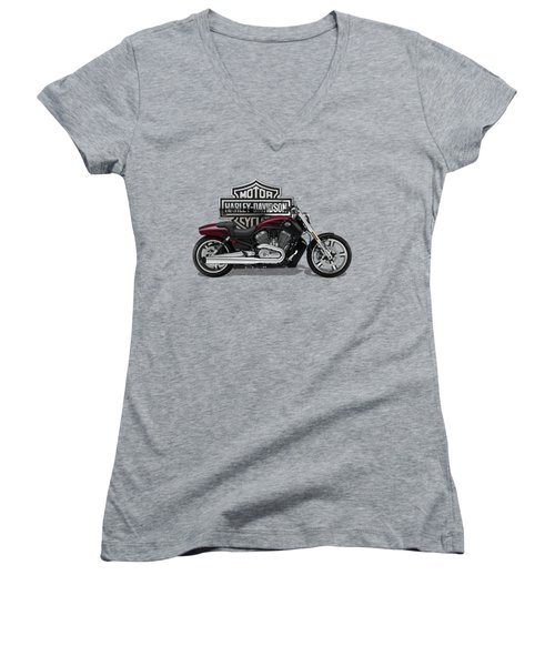 Women's V-Neck T-Shirt (Junior Cut) featuring the digital art 2017 Harley-davidson V-rod Muscle Motorcycle With 3d Badge Over Vintage Background  by Serge Averbukh