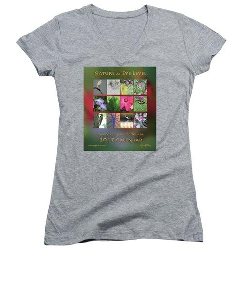 2017 Nature Calendar Women's V-Neck T-Shirt (Junior Cut) by Peg Toliver