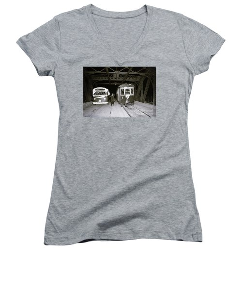 207th Street Crosstown Trolley Women's V-Neck T-Shirt (Junior Cut) by Cole Thompson