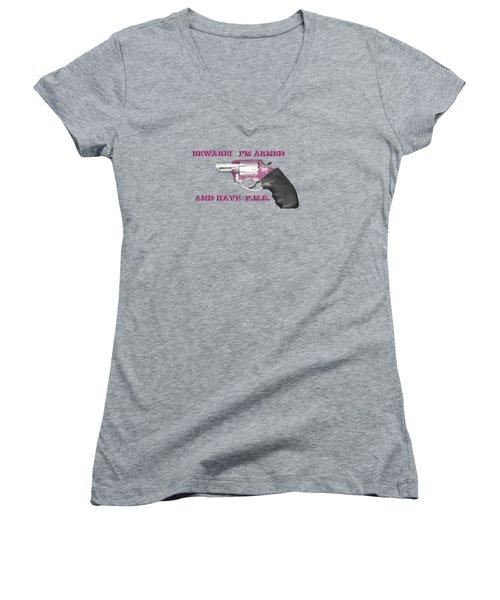 22 Magnum Women's V-Neck T-Shirt (Junior Cut) by EricaMaxine  Price