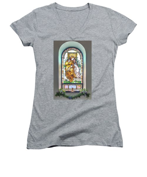 Saint Anne's Windows Women's V-Neck T-Shirt
