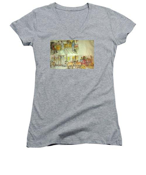 the ole' West my way album Women's V-Neck T-Shirt (Junior Cut) by Debbi Saccomanno Chan