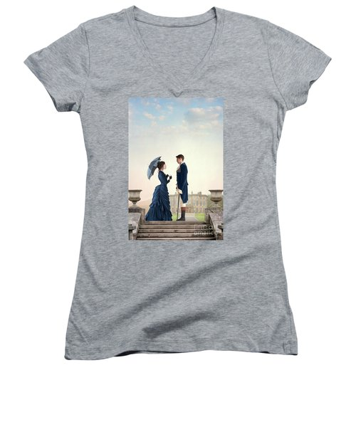 Victorian Couple  Women's V-Neck T-Shirt (Junior Cut) by Lee Avison