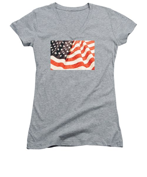 Women's V-Neck T-Shirt (Junior Cut) featuring the photograph American Flag by Les Cunliffe