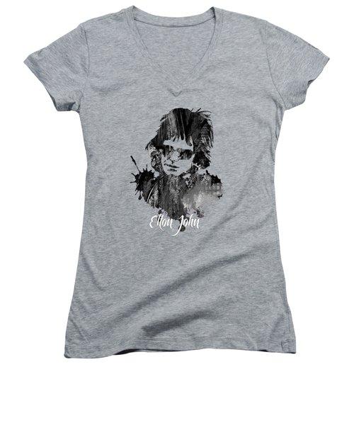 Elton John Collection Women's V-Neck T-Shirt (Junior Cut) by Marvin Blaine