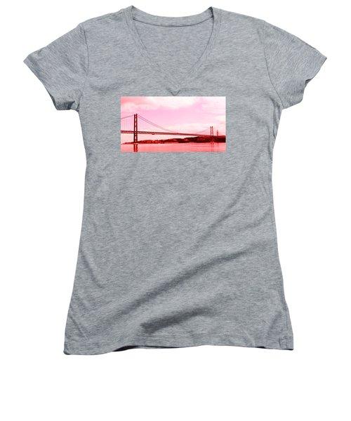 Women's V-Neck T-Shirt (Junior Cut) featuring the photograph 25 De Abril Bridge In Crimson by Lorraine Devon Wilke