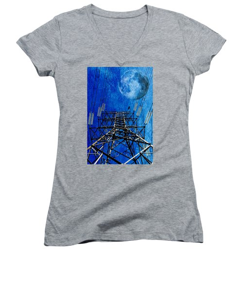 Electric Power Transmission... Women's V-Neck T-Shirt (Junior Cut) by Werner Lehmann