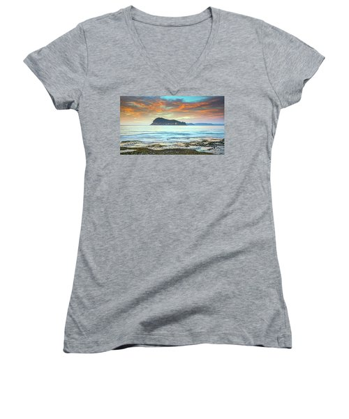Sunrise Seascape With Clouds Women's V-Neck (Athletic Fit)
