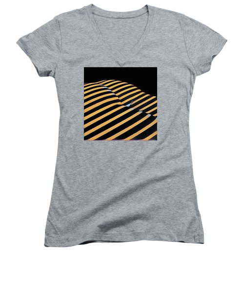 2612s-ak Abstract Rear Butt Bum Thighs Zebra Striped Woman In Composition Style Women's V-Neck