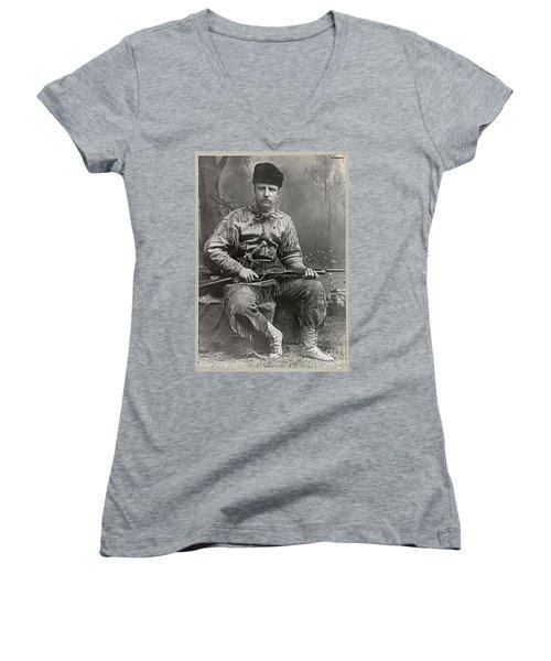 26th United States President Women's V-Neck T-Shirt (Junior Cut) by John Stephens