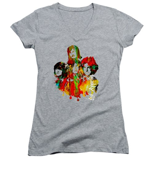 Led Zeppelin Collection Women's V-Neck T-Shirt (Junior Cut) by Marvin Blaine