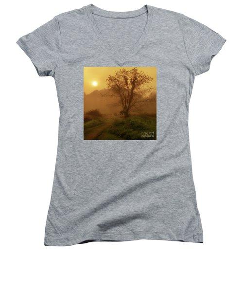 Misty Mountain Sunrise Women's V-Neck T-Shirt (Junior Cut) by Thomas R Fletcher