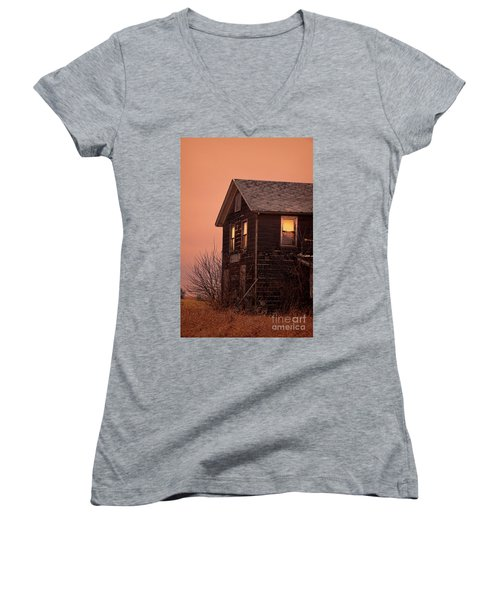 Women's V-Neck T-Shirt (Junior Cut) featuring the photograph Abandoned House by Jill Battaglia