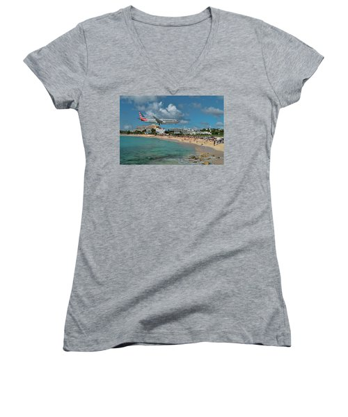 American Airlines At St. Maarten Women's V-Neck T-Shirt (Junior Cut) by David Gleeson