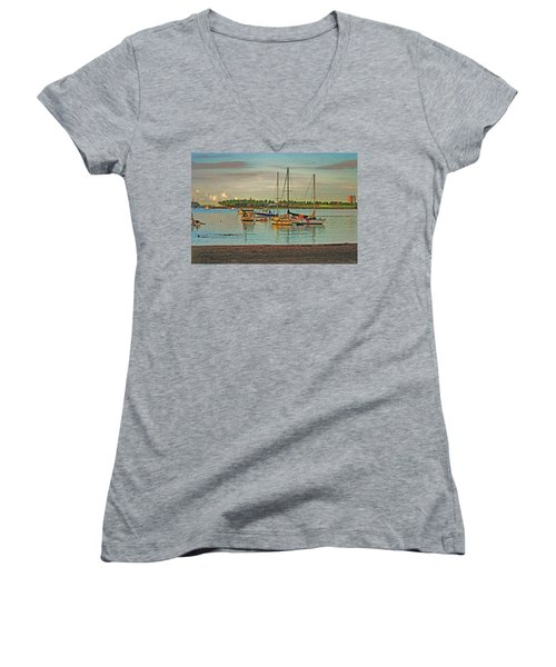 Women's V-Neck T-Shirt (Junior Cut) featuring the digital art 3- Anchored Out by Joseph Keane