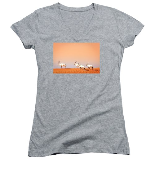 Women's V-Neck T-Shirt (Junior Cut) featuring the photograph Arabian Oryx by Alexey Stiop