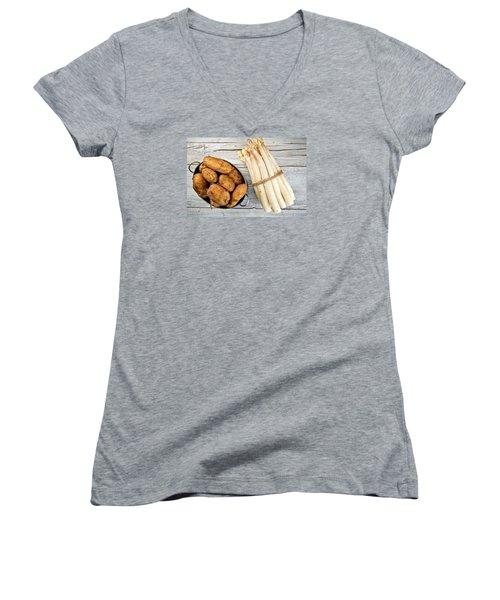 Asparagus Women's V-Neck T-Shirt (Junior Cut) by Nailia Schwarz