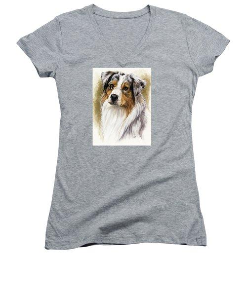 Australian Shepherd Women's V-Neck T-Shirt (Junior Cut) by Barbara Keith
