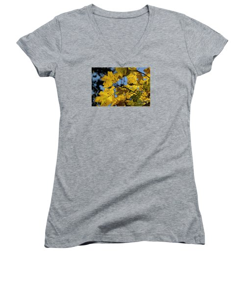 Women's V-Neck T-Shirt (Junior Cut) featuring the photograph Autumn Leaves by Jean Bernard Roussilhe