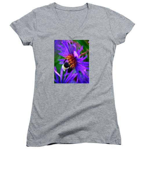 Bee On Purple Flower Women's V-Neck T-Shirt (Junior Cut) by Andre Faubert