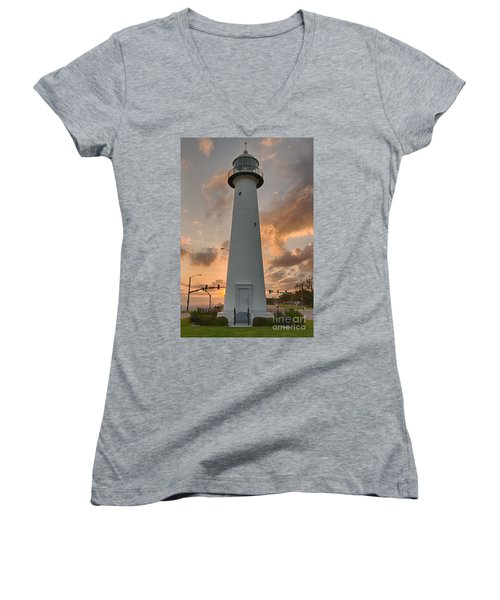 Women's V-Neck T-Shirt (Junior Cut) featuring the photograph Biloxi Lighthouse by Brian Wright