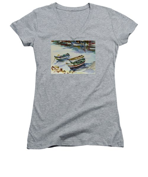 Women's V-Neck T-Shirt (Junior Cut) featuring the painting 3 Boats I by Xueling Zou