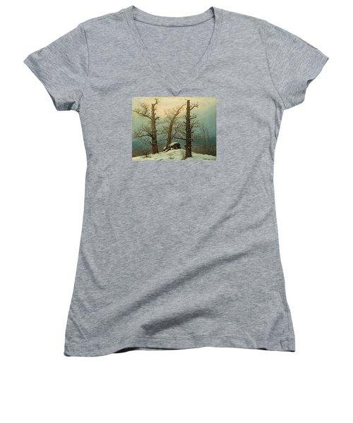 Cairn In Snow Women's V-Neck T-Shirt (Junior Cut) by Caspar David Friedrich