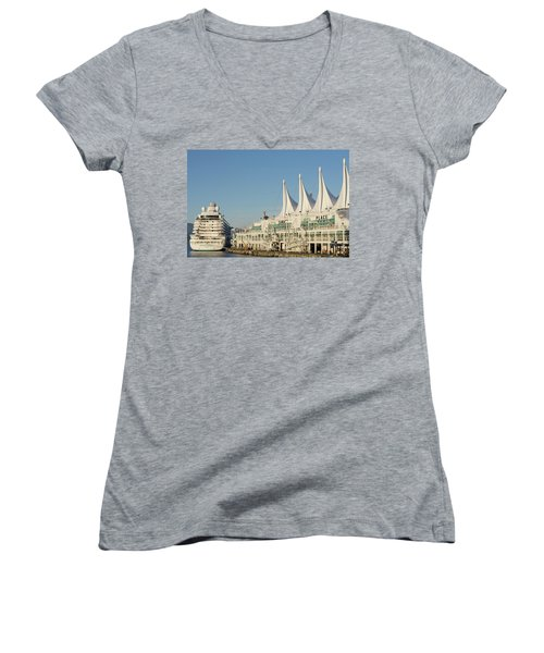 Canada Place Women's V-Neck T-Shirt (Junior Cut) by Ross G Strachan