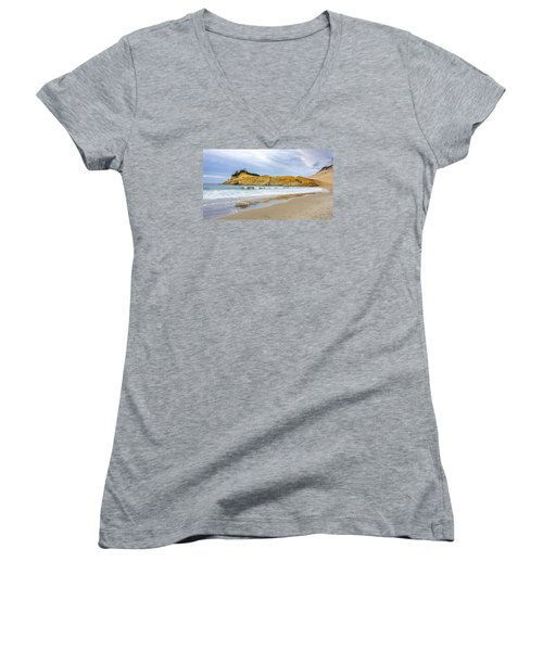 Cape Kiwanda Women's V-Neck T-Shirt (Junior Cut) by Jerry Cahill