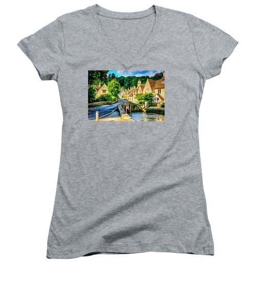 Castle Combe Village, Uk Women's V-Neck T-Shirt