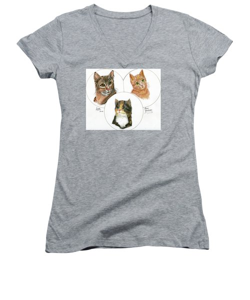3 Cats For Juda Women's V-Neck T-Shirt