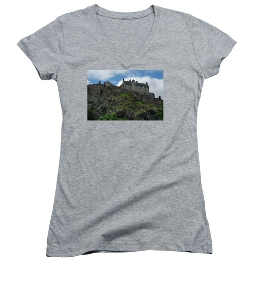 Women's V-Neck T-Shirt featuring the photograph Edinburgh Castle In Scotland by Jeremy Lavender Photography