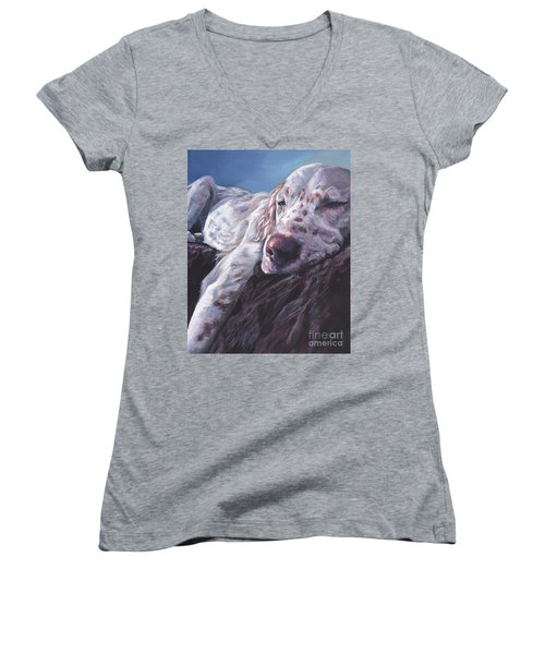 Women's V-Neck T-Shirt (Junior Cut) featuring the painting English Setter by Lee Ann Shepard