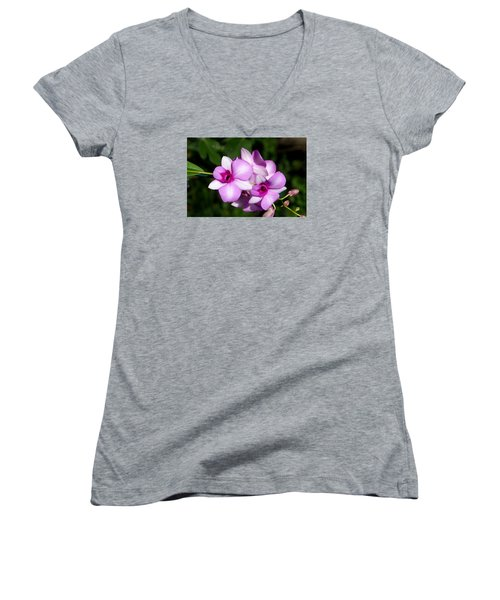 Flower Edition Women's V-Neck T-Shirt (Junior Cut) by Bernd Hau