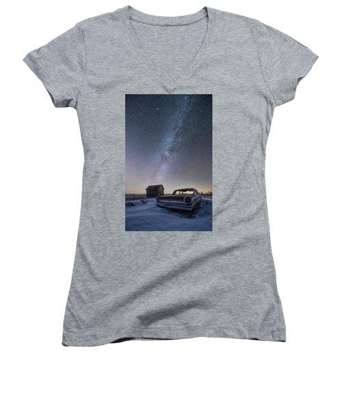 Women's V-Neck T-Shirt (Junior Cut) featuring the photograph 3 Galaxies  by Aaron J Groen