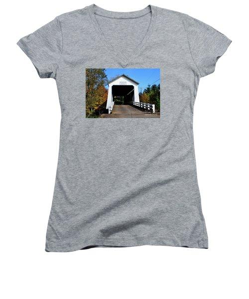 Gallon House Covered Bridge Women's V-Neck T-Shirt