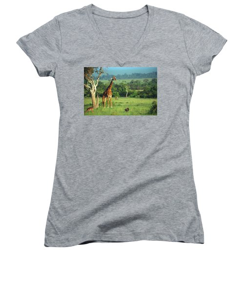 Giraffe Women's V-Neck T-Shirt (Junior Cut) by Sebastian Musial