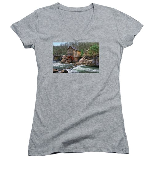 Glade Creek Grist Mill Women's V-Neck T-Shirt (Junior Cut) by Mary Almond