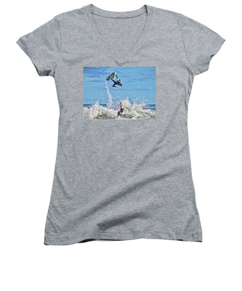 Women's V-Neck featuring the photograph Gotcha by Alice Gipson