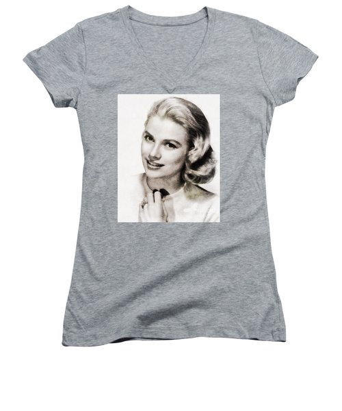 Grace Kelly, Vintage Hollywood Actress Women's V-Neck T-Shirt