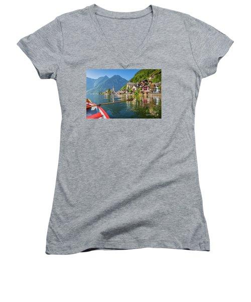 Hallstatt Women's V-Neck T-Shirt (Junior Cut) by JR Photography