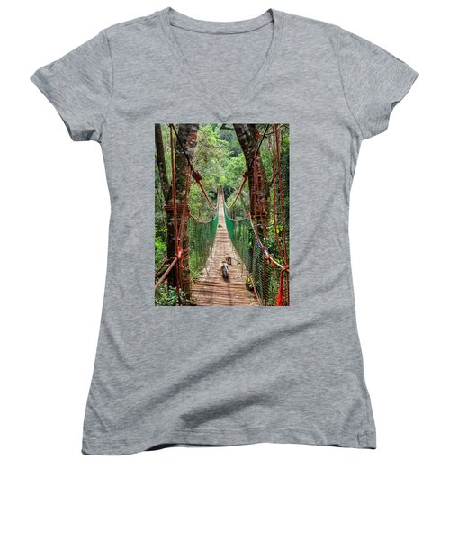 Women's V-Neck T-Shirt (Junior Cut) featuring the photograph Hanging Bridge by Alexey Stiop
