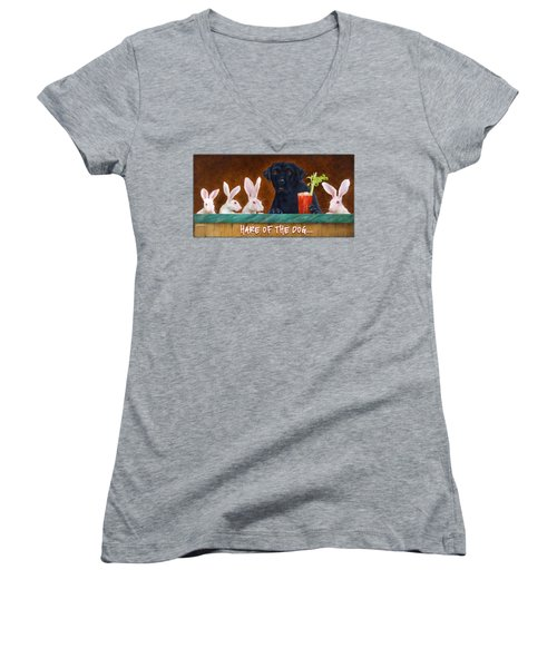 Women's V-Neck T-Shirt (Junior Cut) featuring the painting Hare Of The Dog... by Will Bullas