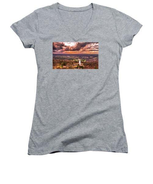 Women's V-Neck T-Shirt (Junior Cut) featuring the photograph Heublein Tower, Simsbury Connecticut, Cloudy Sunset by Petr Hejl