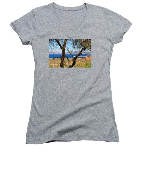 Hoover Dam Visitor Center Women's V-Neck T-Shirt (Junior Cut) by Kathryn Meyer