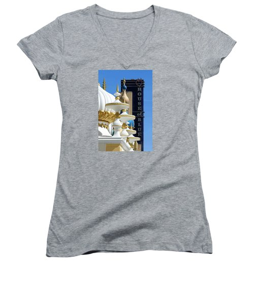 House Of Blues Women's V-Neck T-Shirt (Junior Cut) by Allen Beilschmidt
