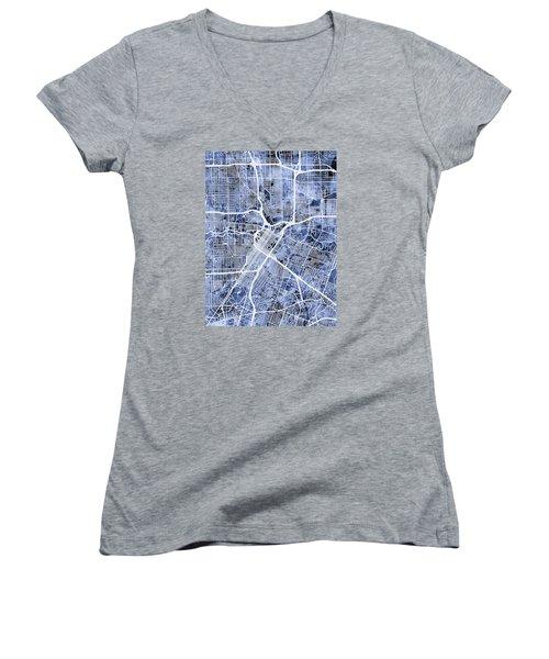 Houston Texas City Street Map Women's V-Neck T-Shirt (Junior Cut) by Michael Tompsett