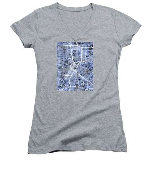 Houston Texas City Street Map Women's V-Neck