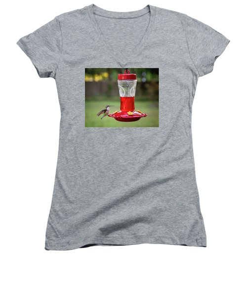 My Sweet Hummingbird Women's V-Neck T-Shirt (Junior Cut) by Denis Lemay